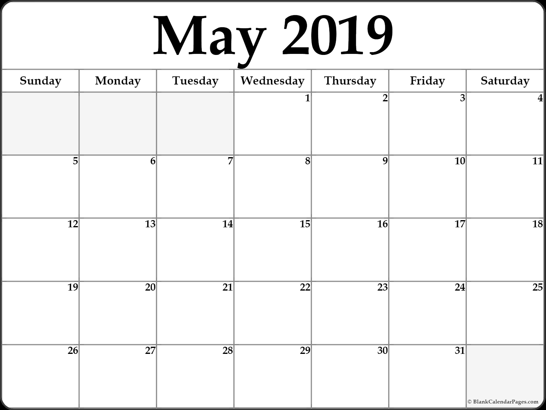 may 2019 calendar printable template site provides calendar::May 2019 Blank Template