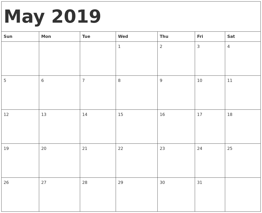 may 2019 calendar template::May 2019 Blank Template