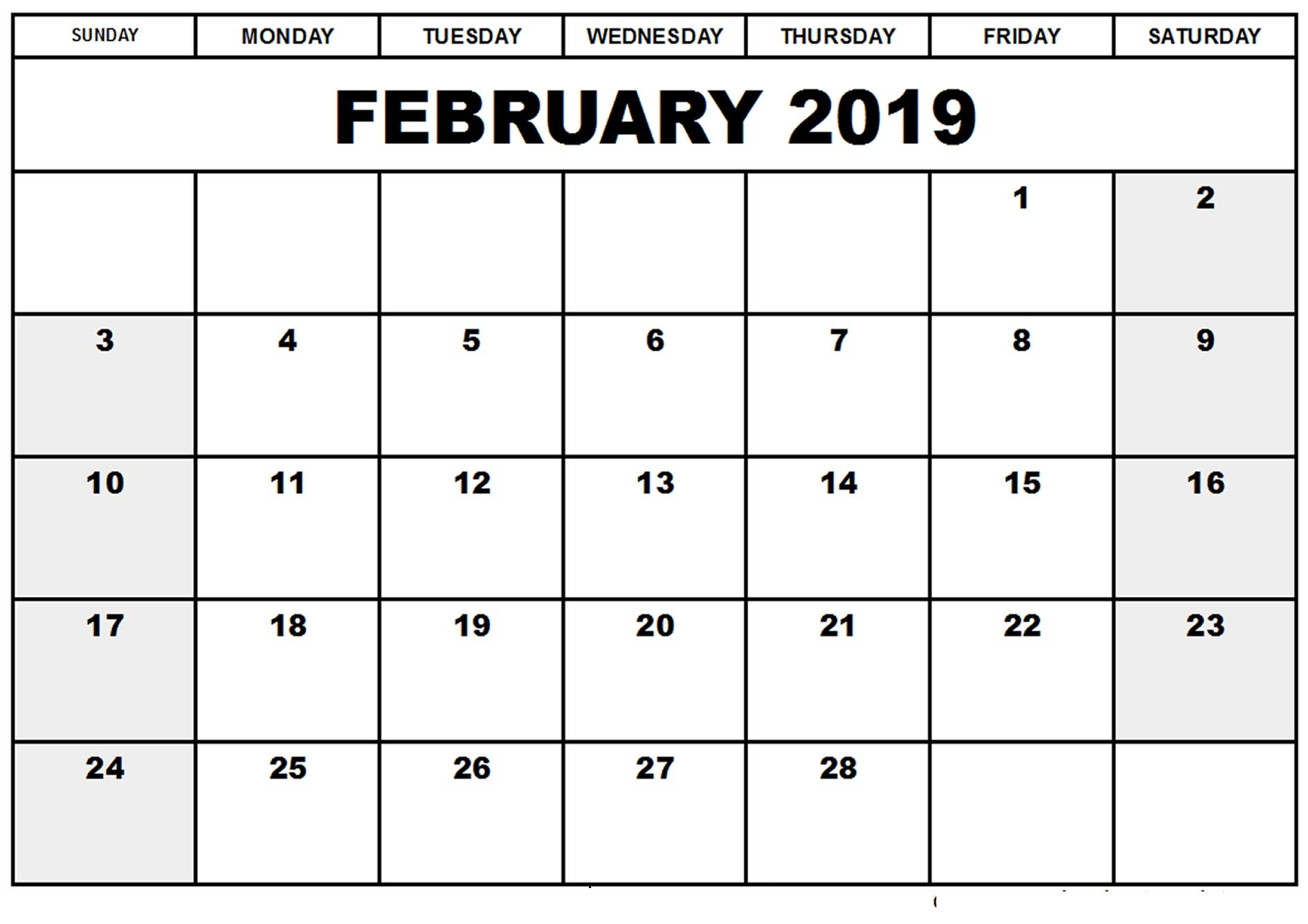 online february 2019 calendar editable free online calendars::February 2019 Calendar Editable