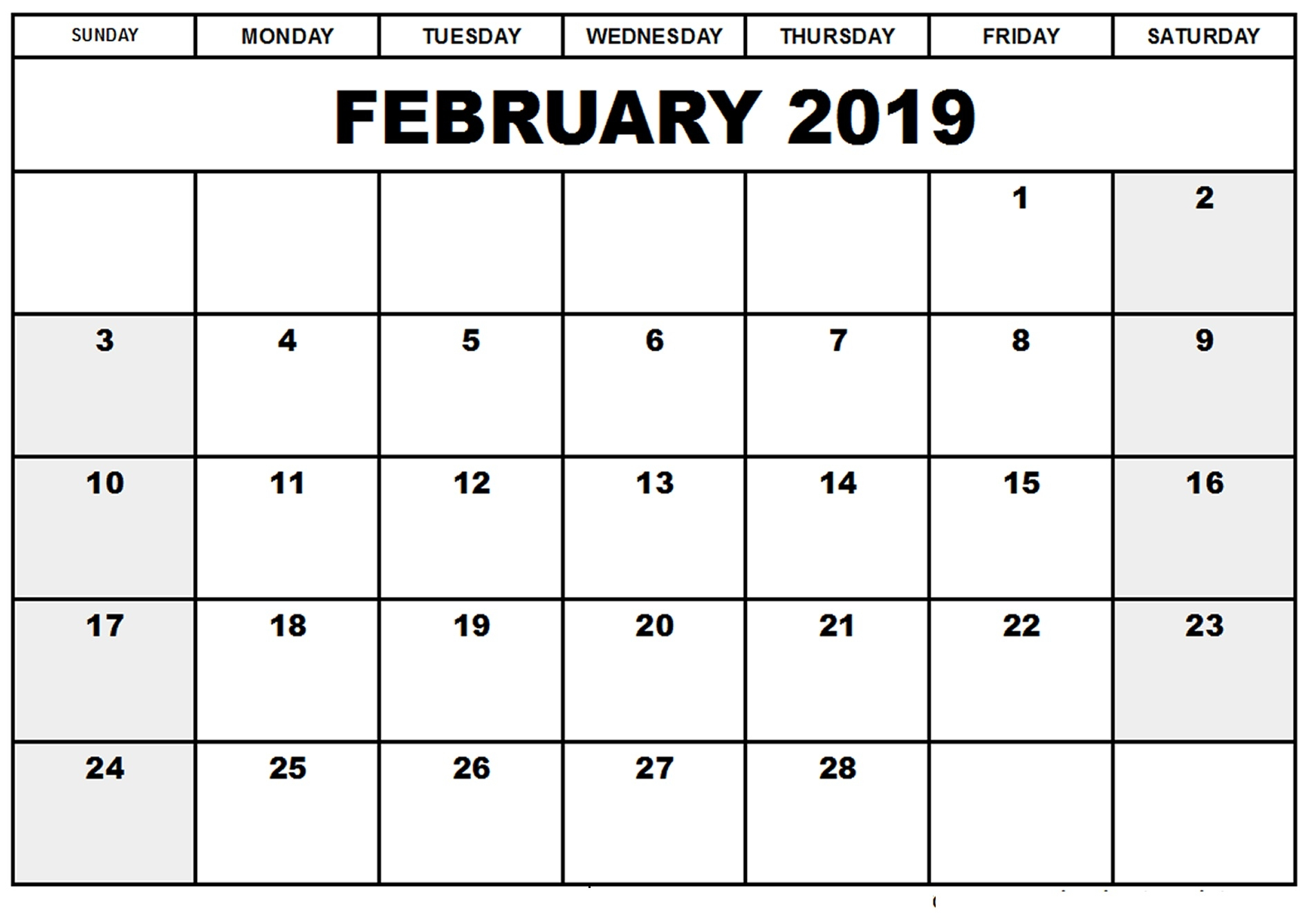 online february 2019 calendar editable free online calendars::February 2019 Calendar Fillable
