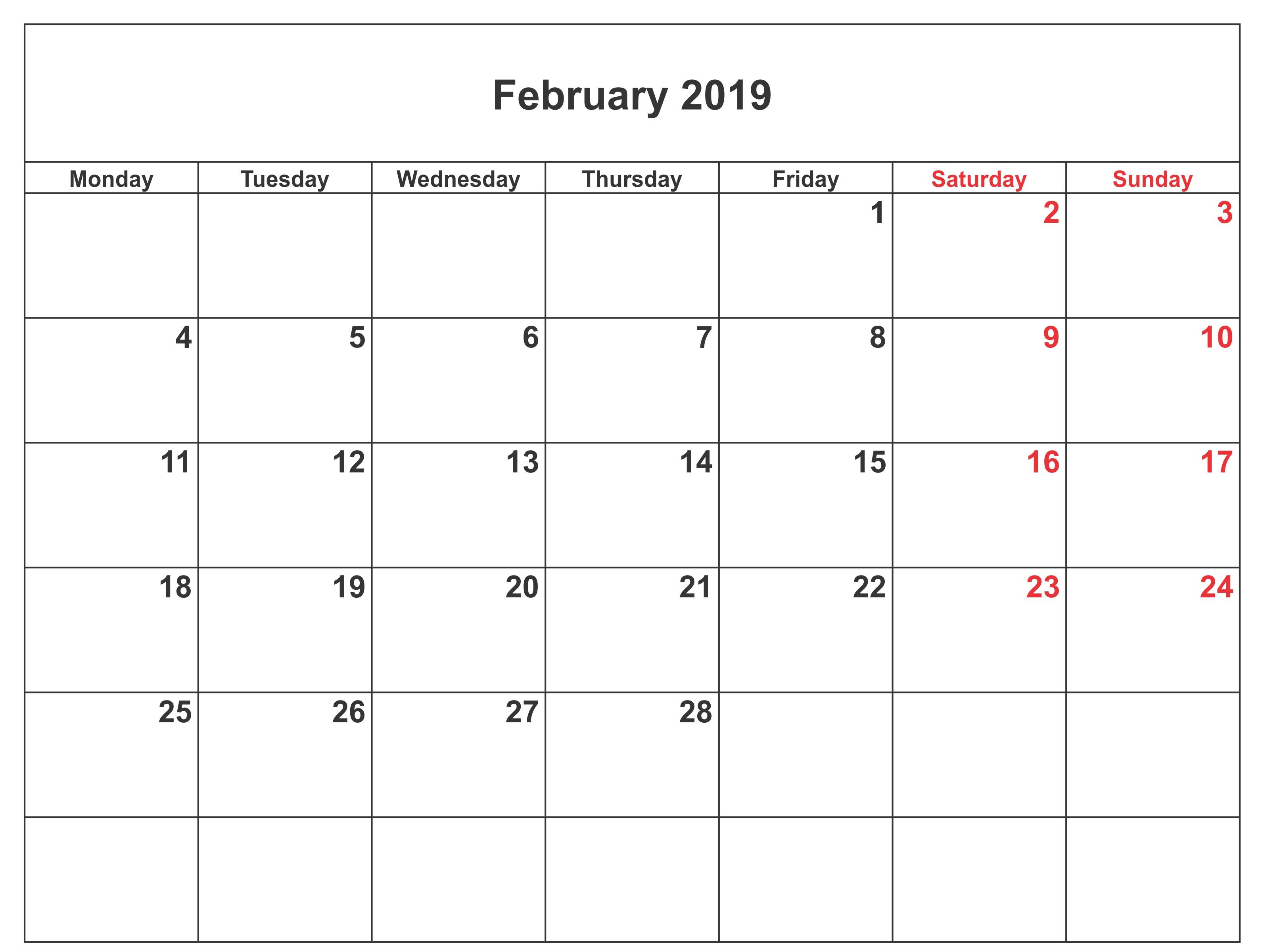 print february 2018 calendar blank::Blank February 2019 Calendar