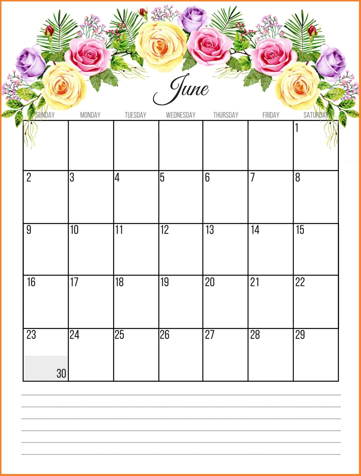 printable floral 2019 monthly calendar ::June 2019 Calendar