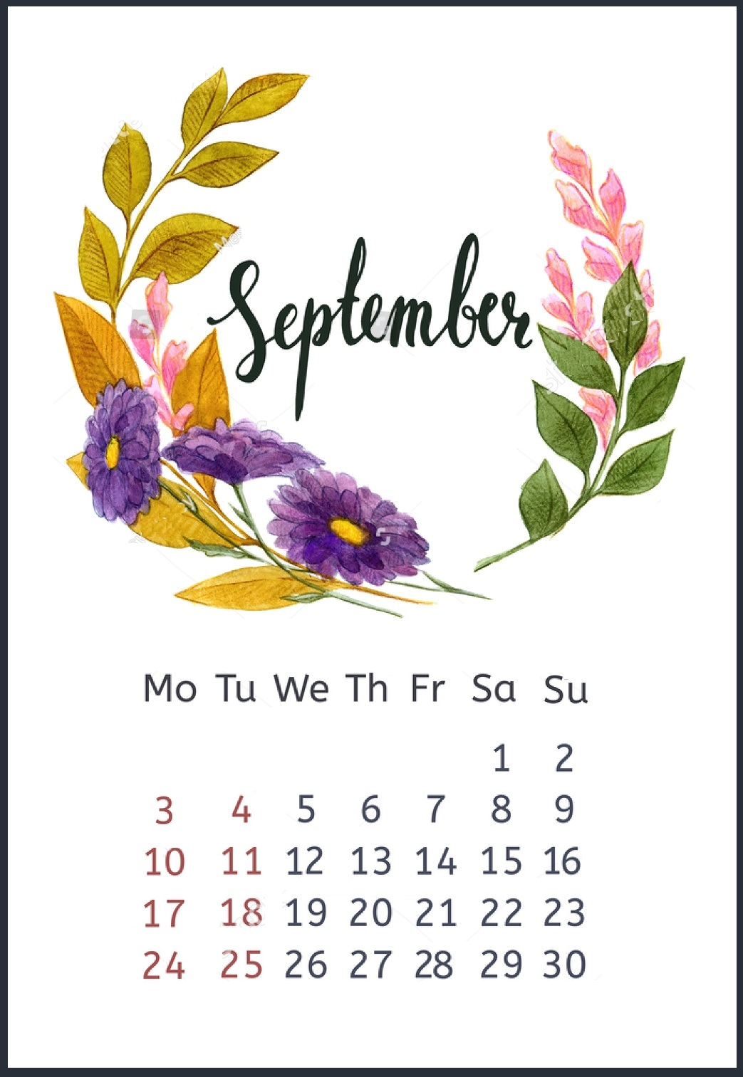 september 2018 calendar wallpapers calendar 2019::September 2019 iPhone Wallpaper Calendar