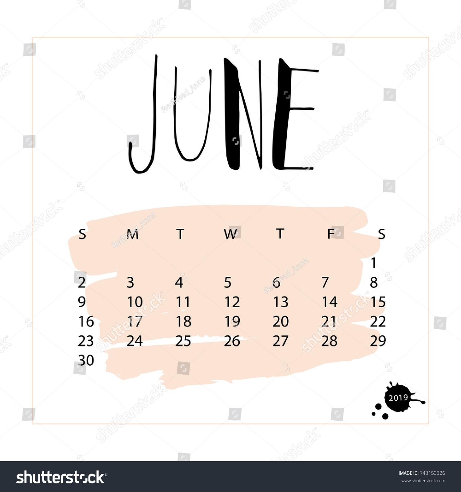 vector calendar june 2019 hand drawn stock vector royalty free::June 2019 Calendar