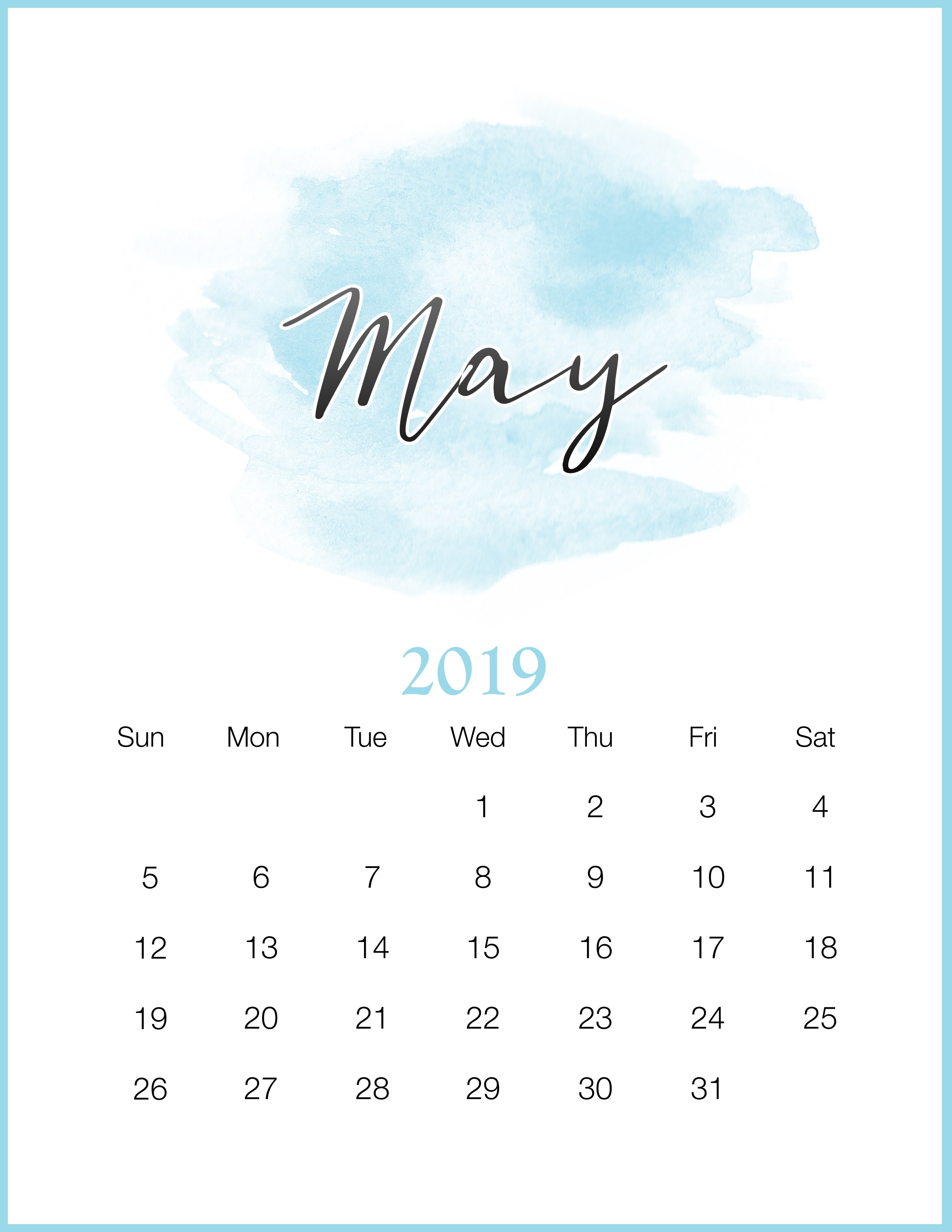 watercolor 2019 monthly printable calendar calendar 2019::May 2019 Desk Calendar