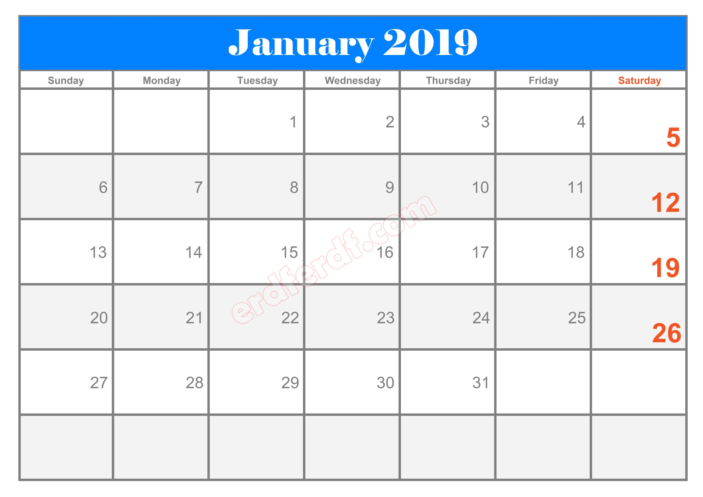 1 10 Blank Calendar 2019 January Sample