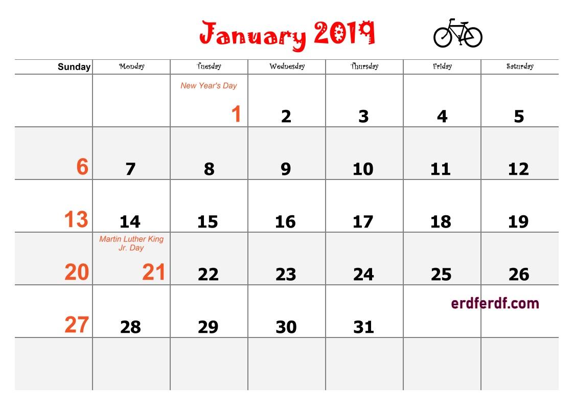 1 Blank Calendar 2019 Word January