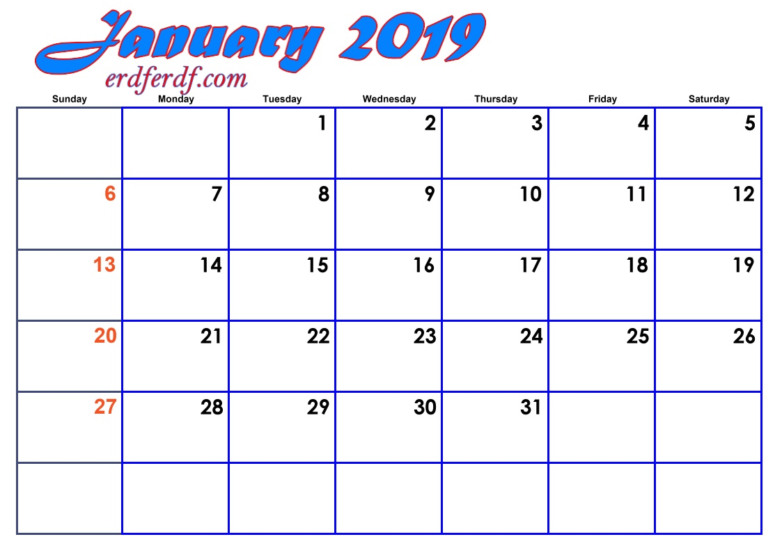 1 January Blank 2019 Calendar By Month