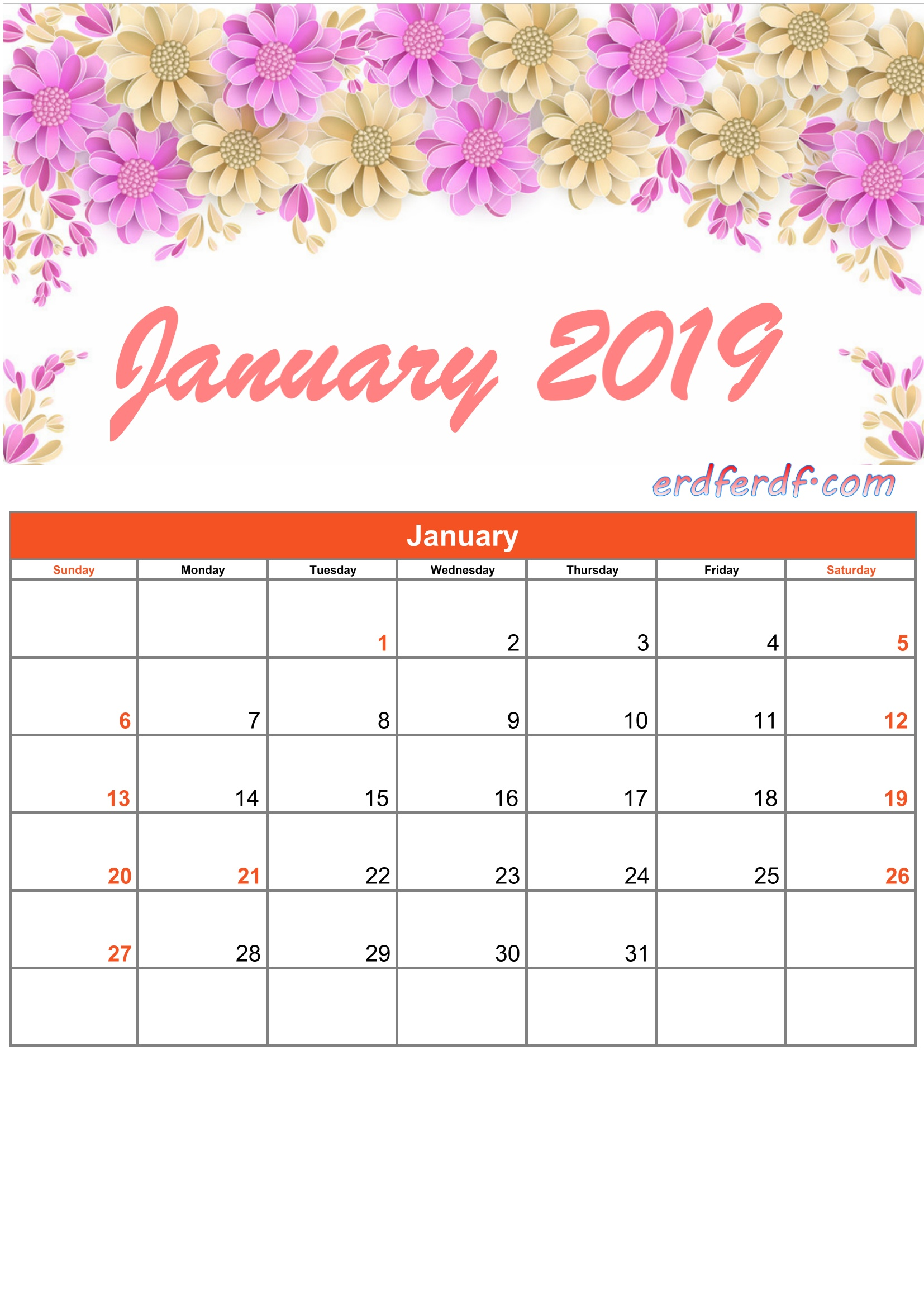 1 January Printable Calendar 2019 Monthly