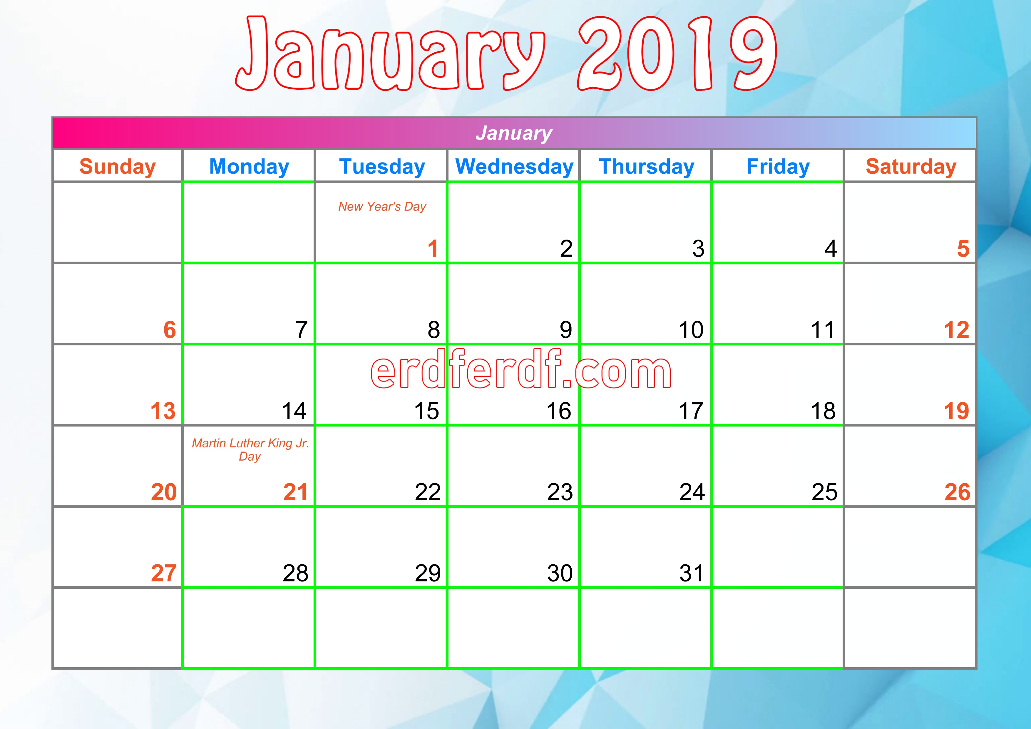 1 January Printable Calendar For 2019 With Holidays