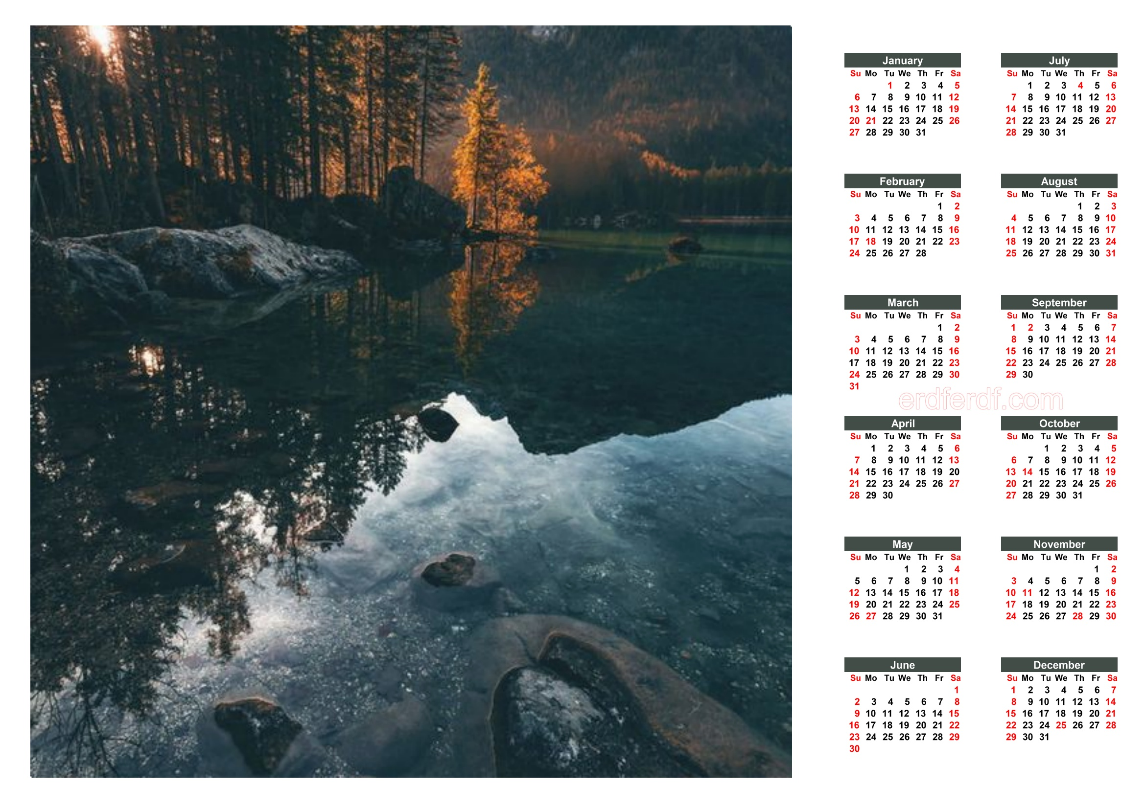 1 Printable 2019 Calendar With Federal Holidays