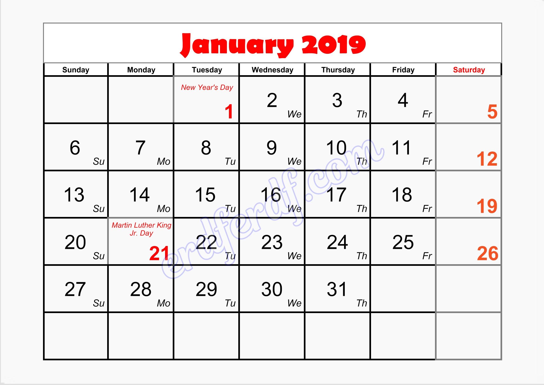 1 blank printable calendar january 2019