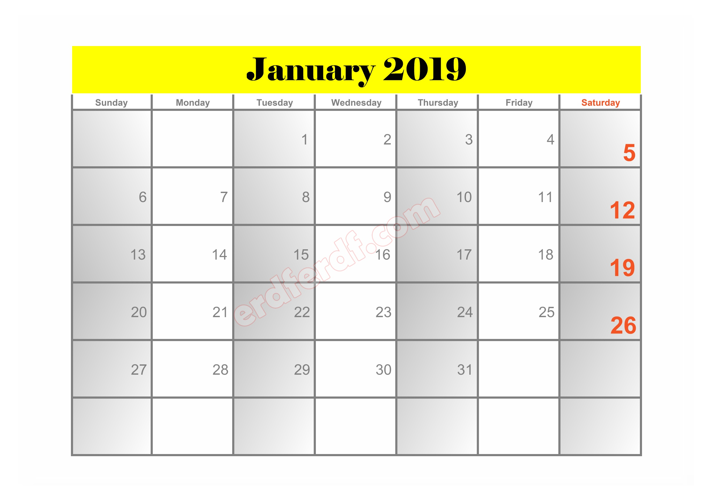 10 10 Blank Calendar 2019 January Sample
