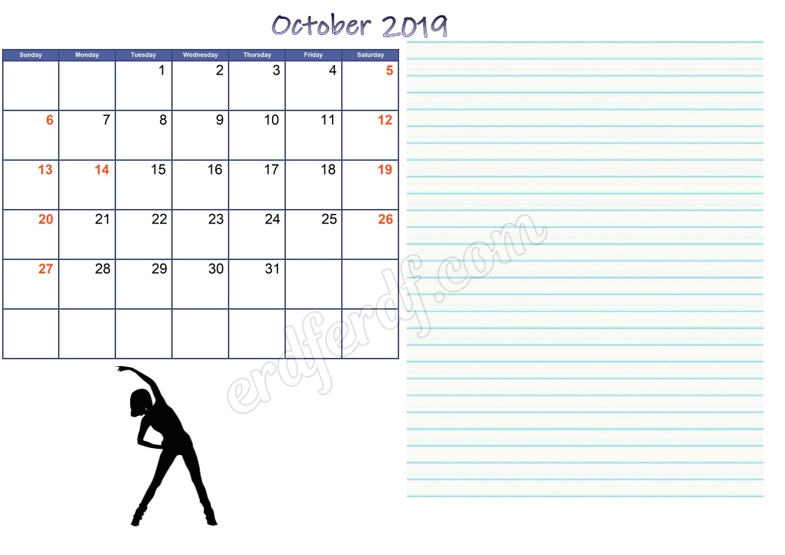 10 October 2019 Blank Calendar Template With Notes