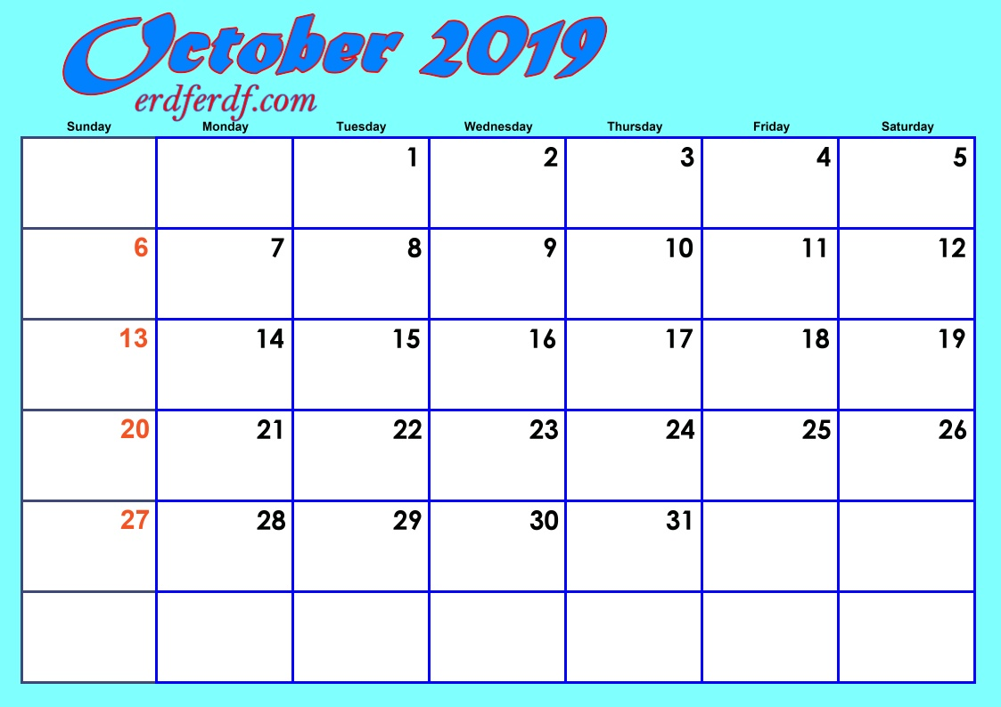 10 October Blank 2019 Calendar By Month