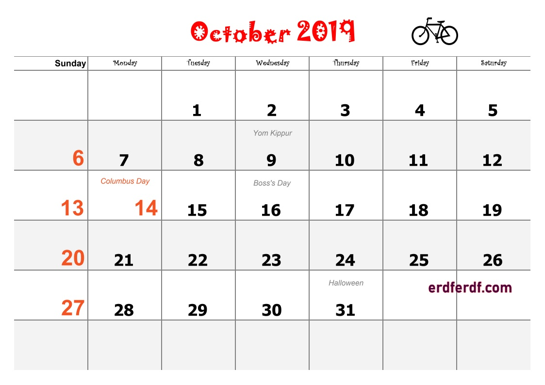 10 October Blank Calendar 2019 Word