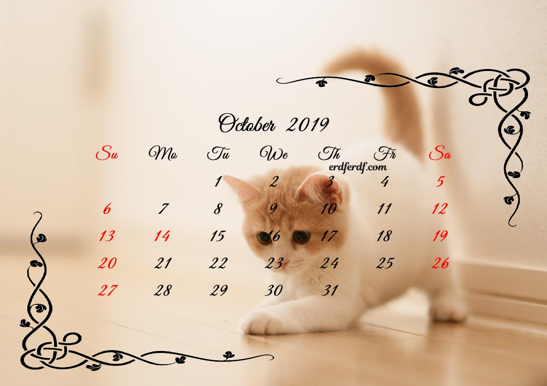 10 October Printable Calendar 2019 Cute Cats