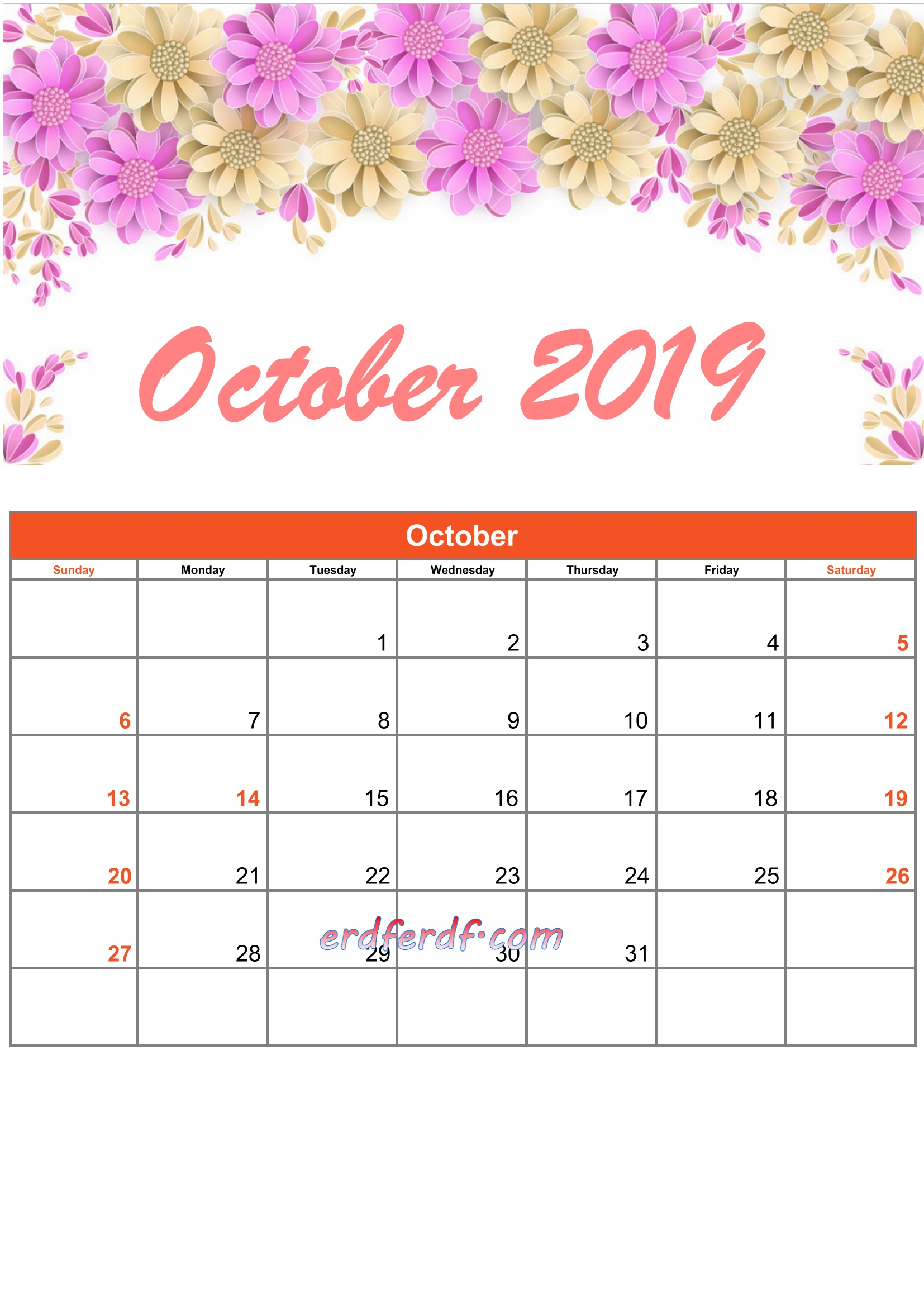 10 October Printable Calendar 2019 Monthly