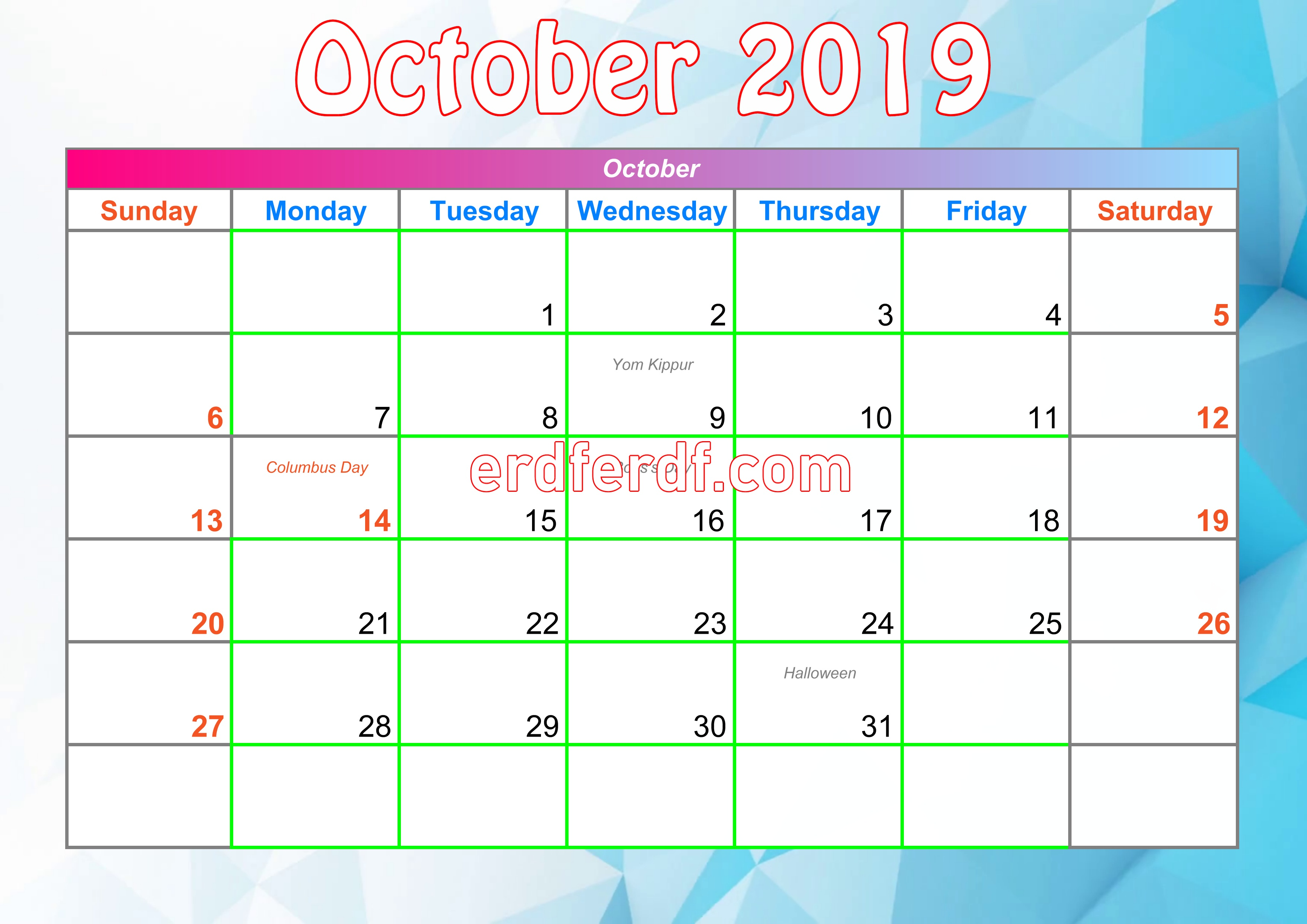 10 October Printable Calendar For 2019 With Holidays