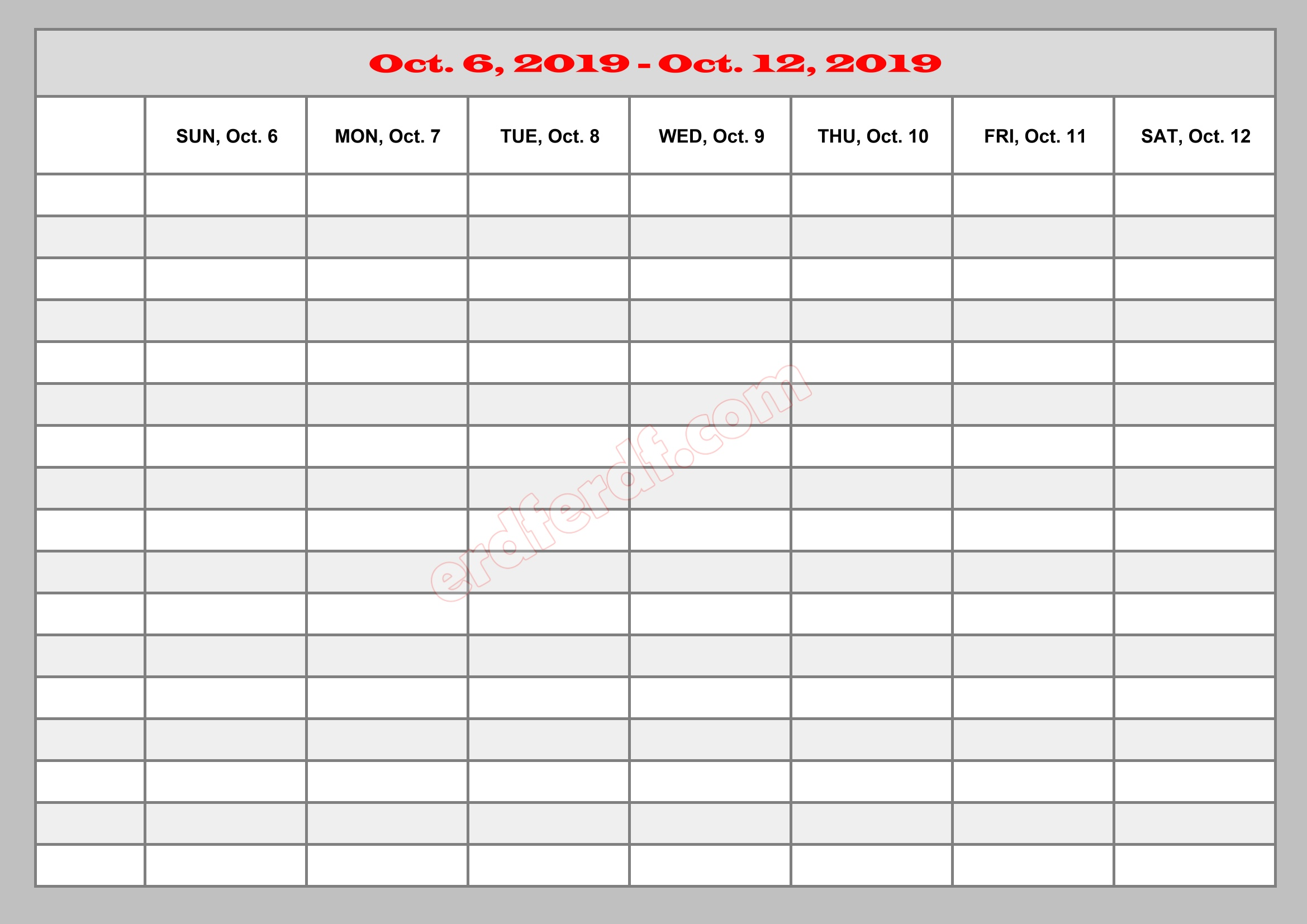10 October Template Calendar 2019 Excel