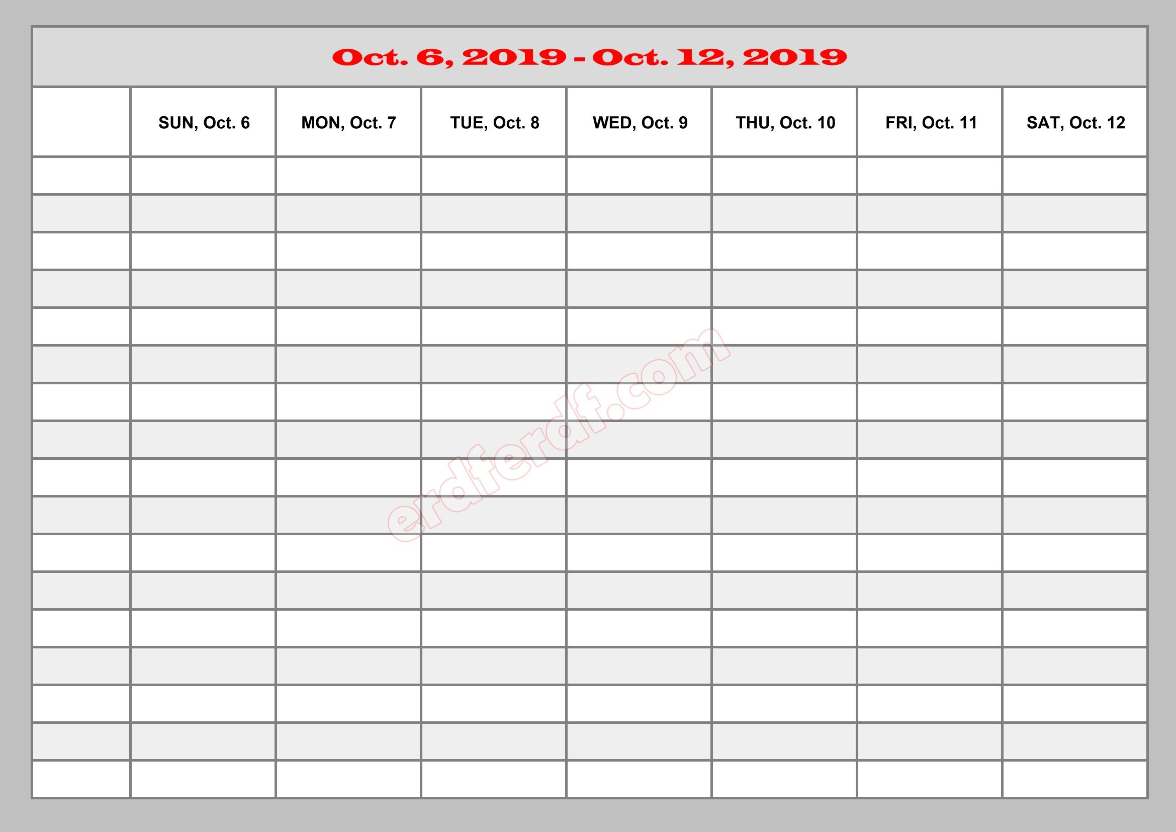 october 2019 excel calendar