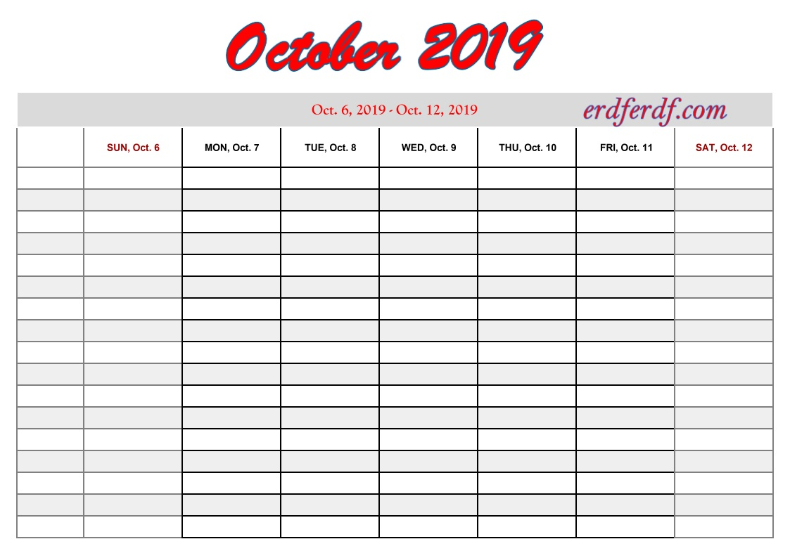 10 October free printable 2019 calendar with week numbers