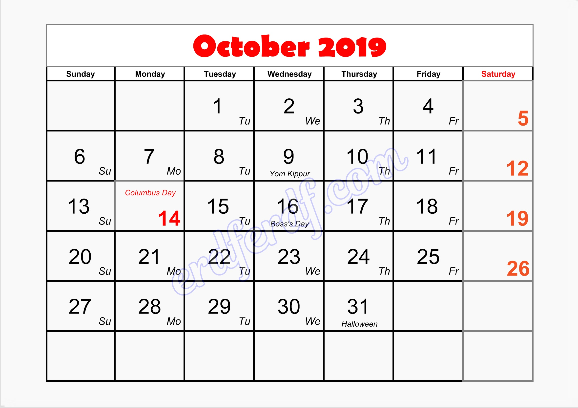 10 October writable printable calendar 2019