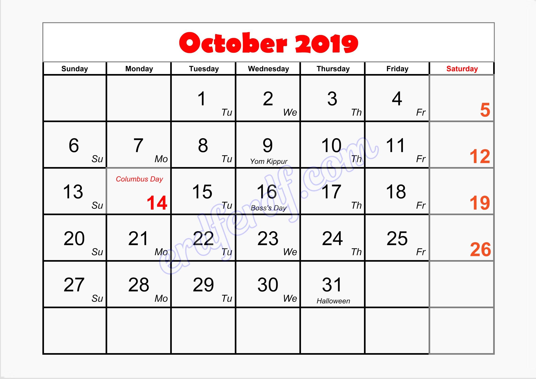 10 October writable printable calendar 2019
