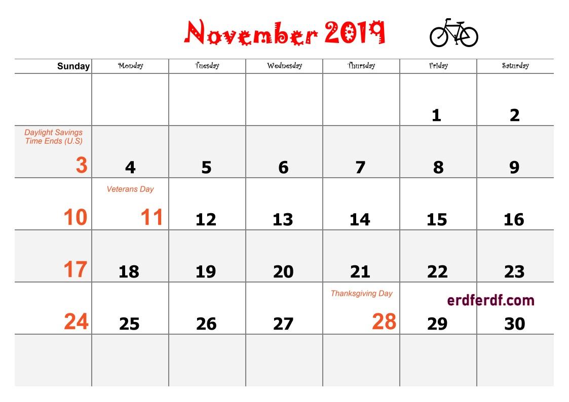 11 November Blank Calendar 2019 Word