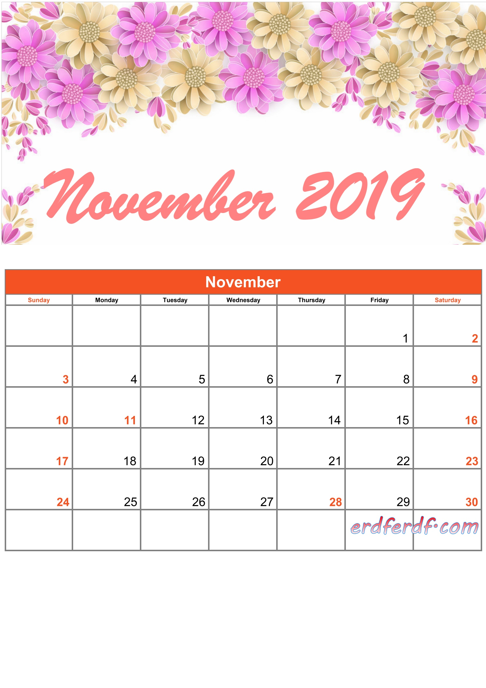 11 November Printable Calendar 2019 Monthly