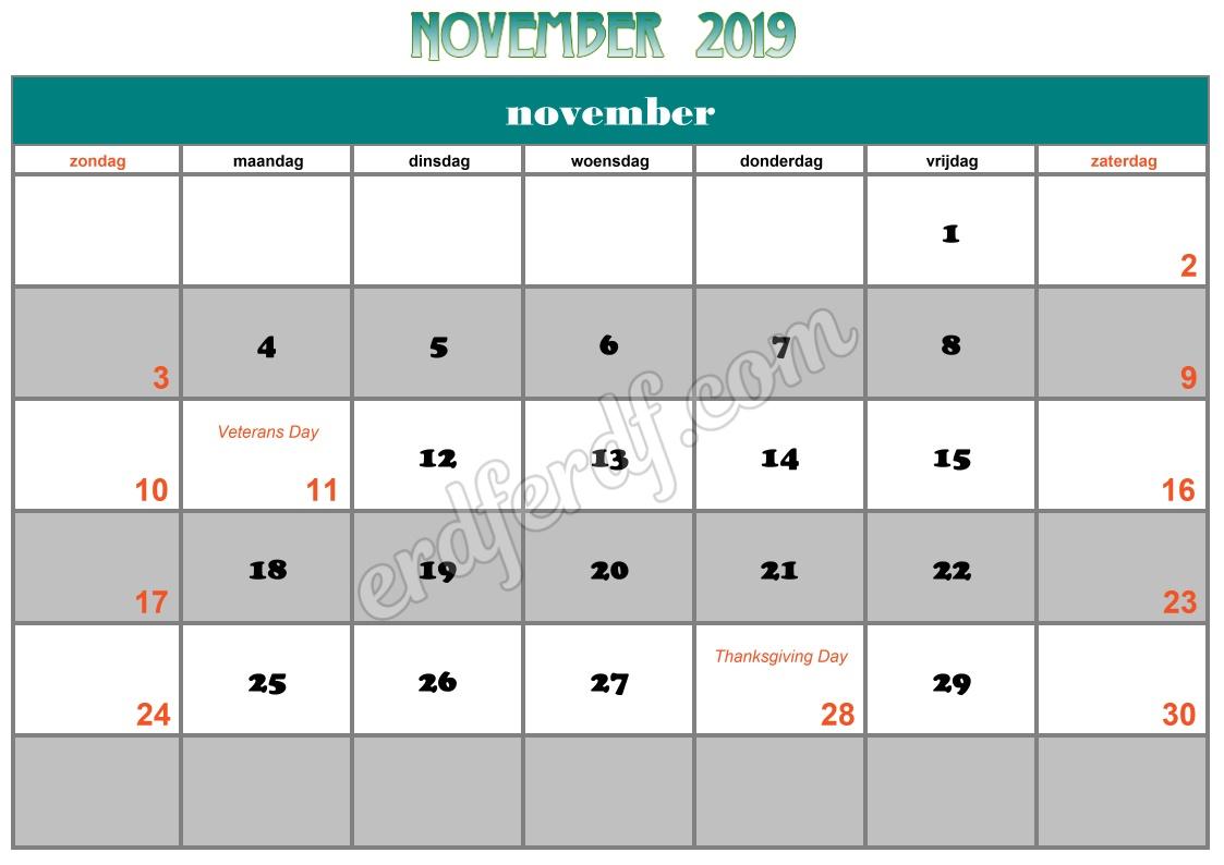11 November Printable Calendar 2019 Nz