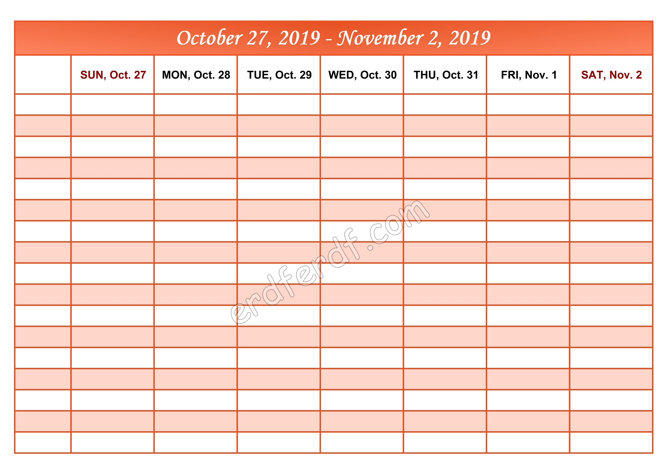 11 November Printable Calendar 2019 Weekly Month by Month