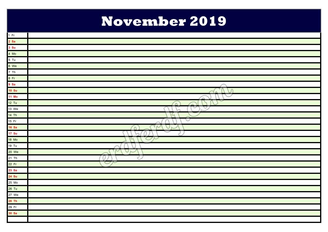 11 November Printable Calendar Planner 2019