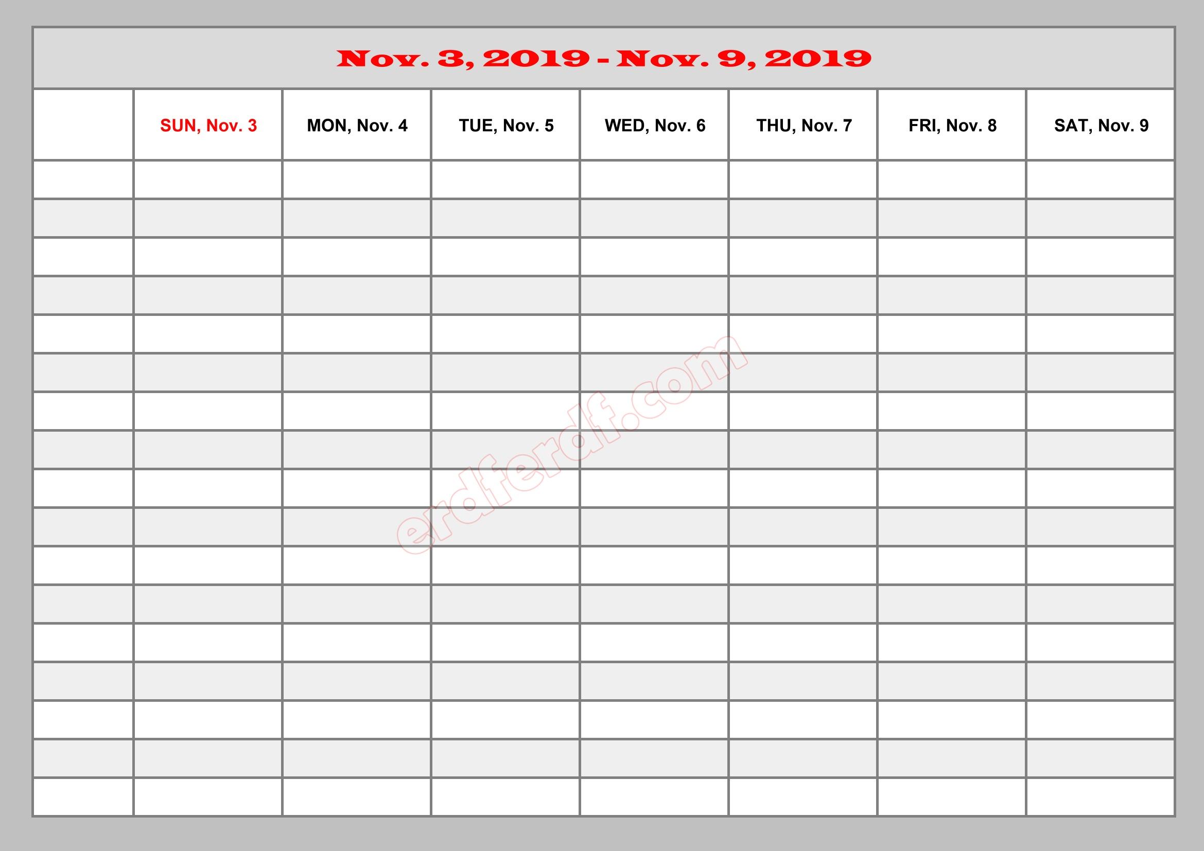 11 November Template Calendar 2019 Excel