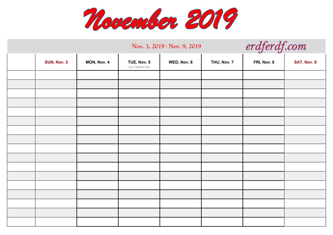 11 November free printable 2019 calendar with week numbers