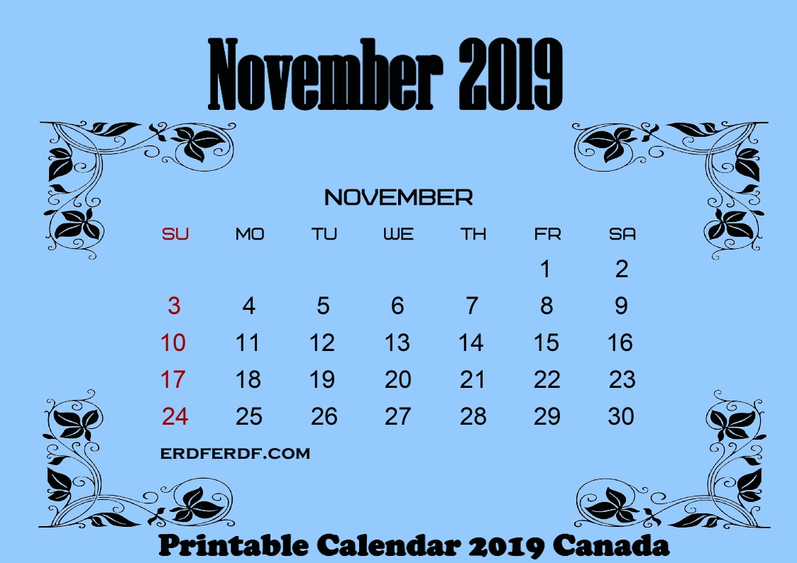 11 November printable calendar 2019 canada with holidays