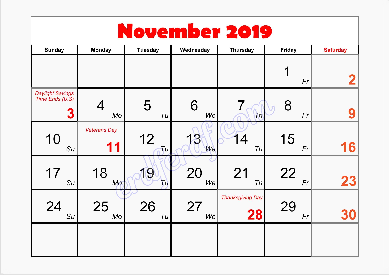 11 November writable printable calendar 2019