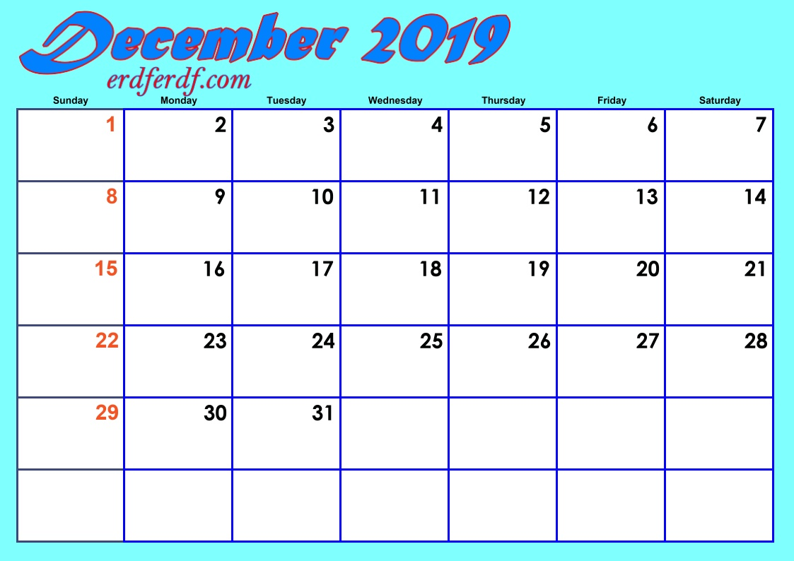 12 December Blank 2019 Calendar By Month