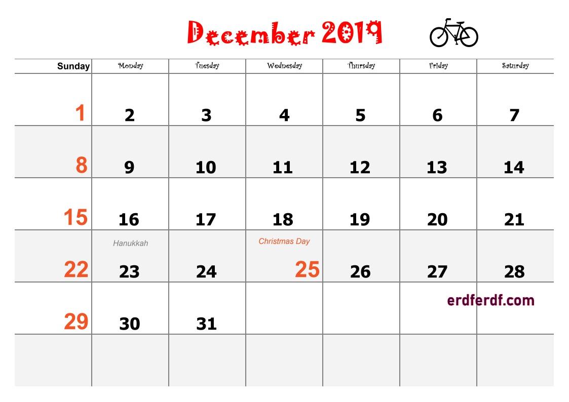 12 December Blank Calendar 2019 Word