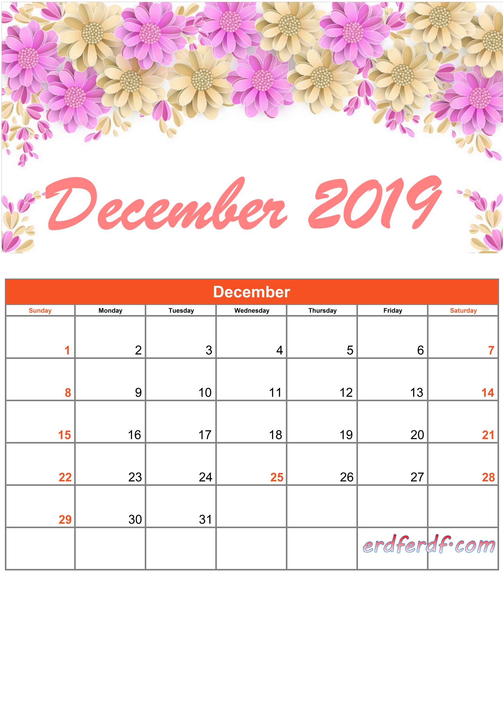 12 Printable Calendar 2019 Monthly Design Flower