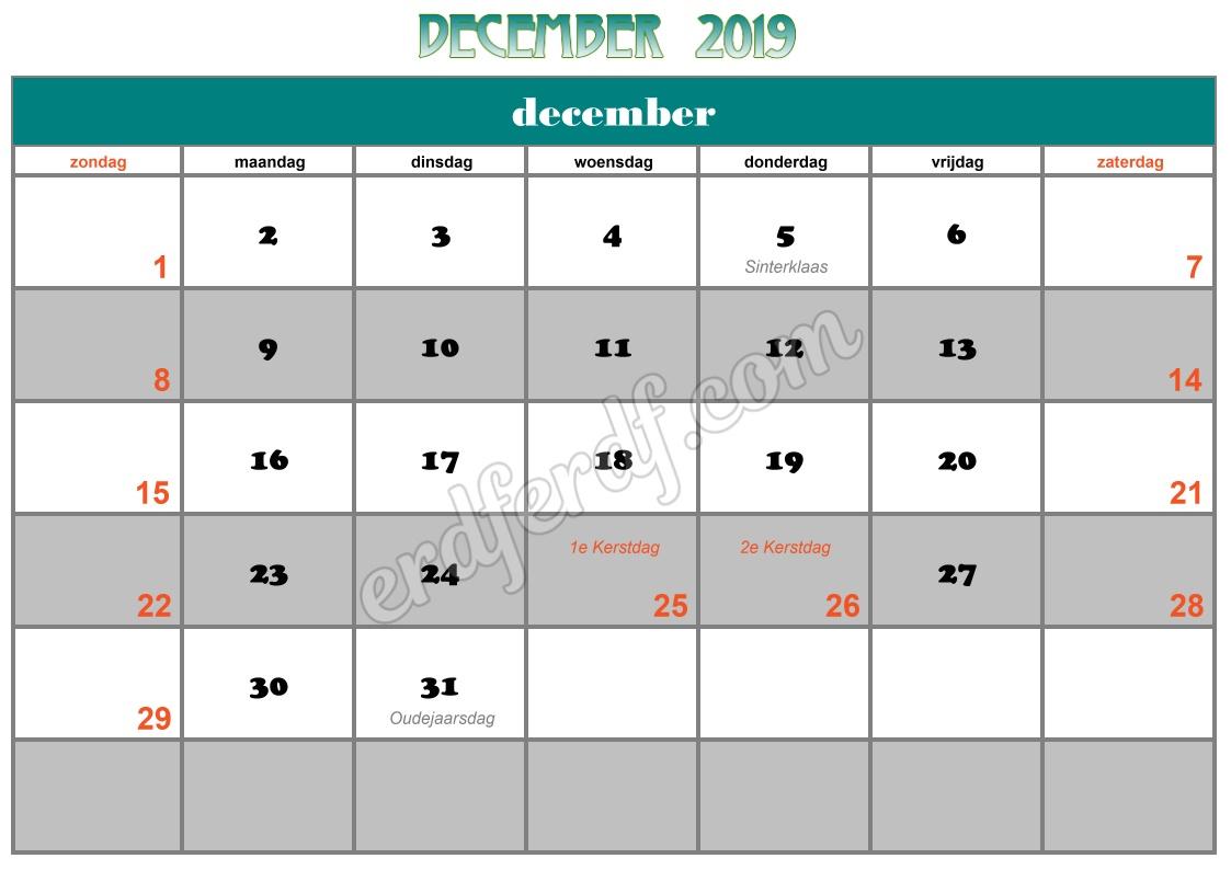 12 December Printable Calendar 2019 Nz