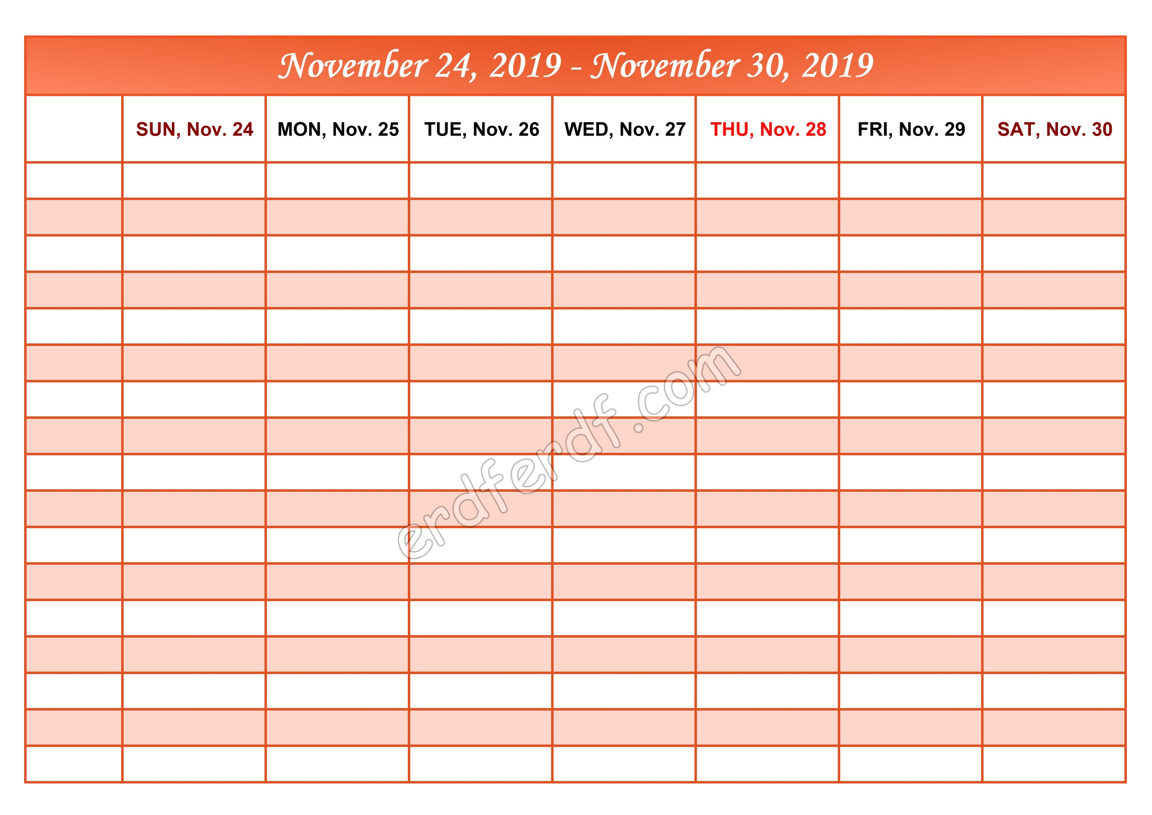 Printable Calendar 2019 Weekly Month by Month