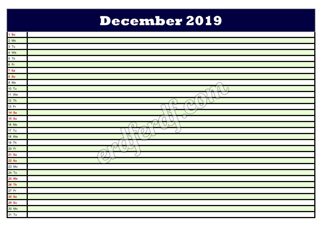 12 December Printable Calendar Planner 2019