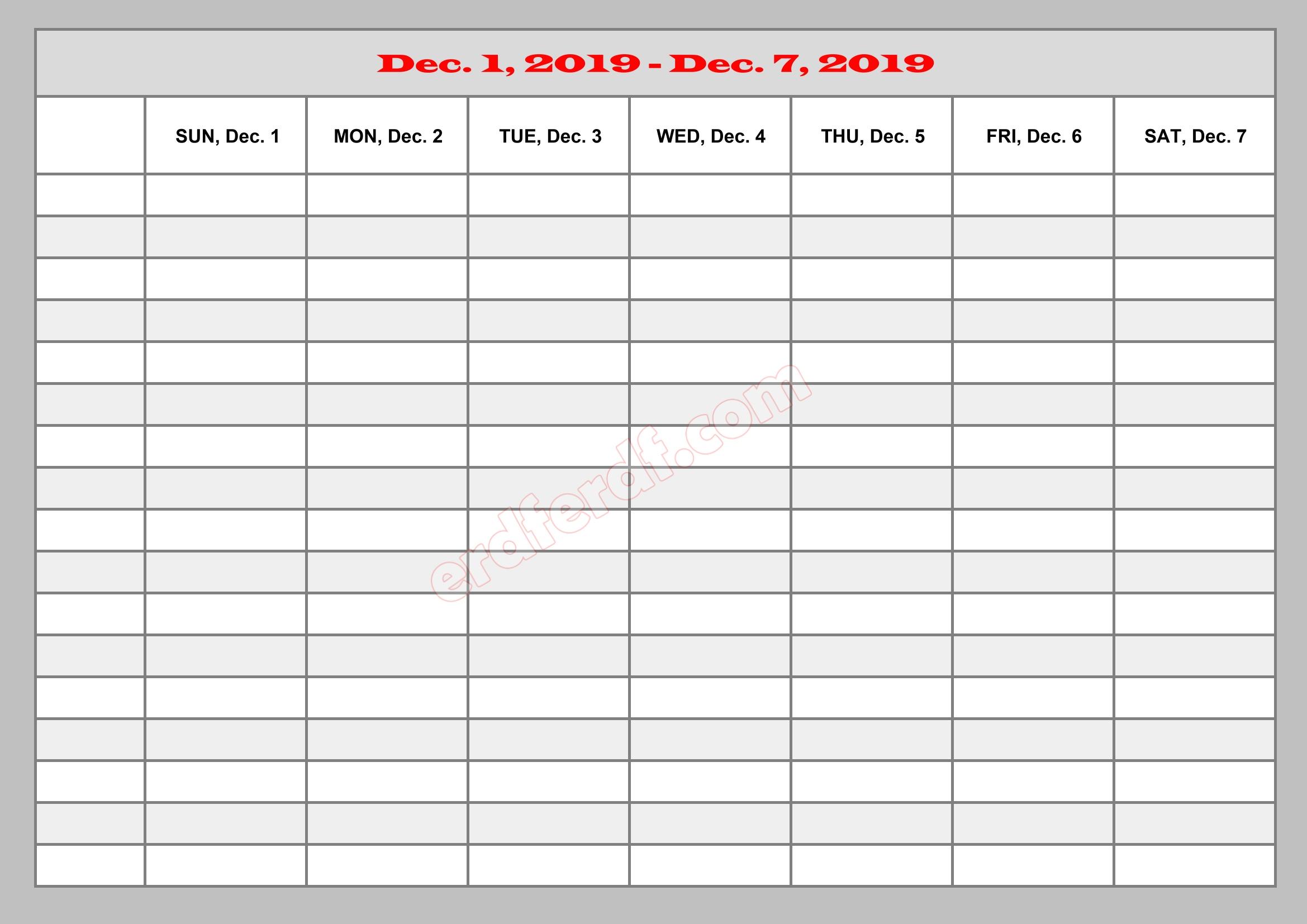 12 December Template Calendar 2019 Excel