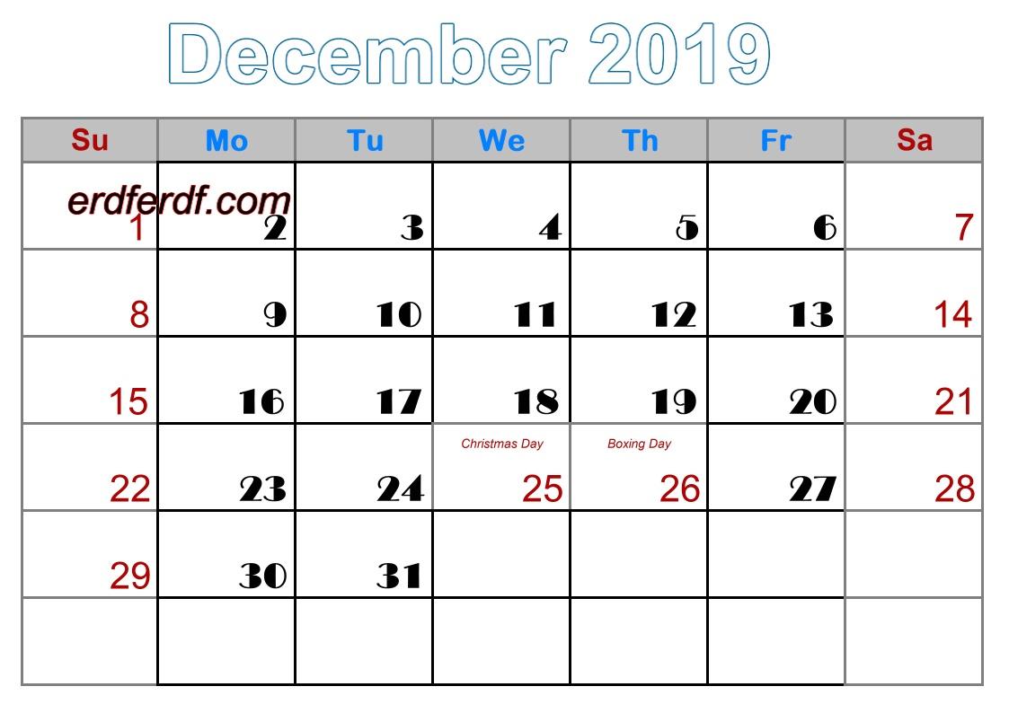 12 December printable calendar 2019 uk free