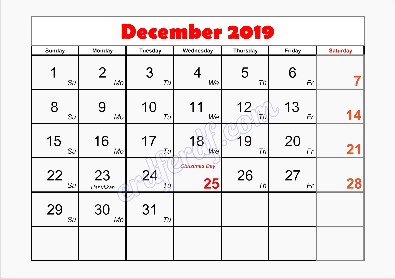 12 December writable printable calendar 2019