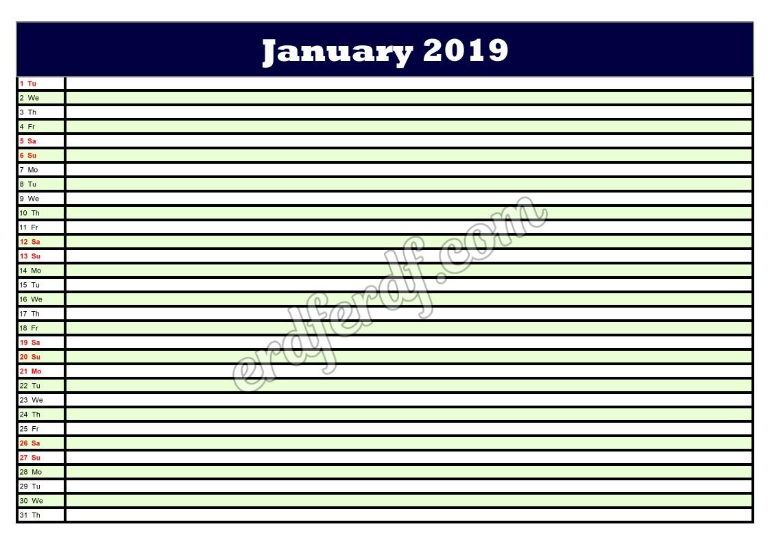 1January Printable Calendar Planner 2019