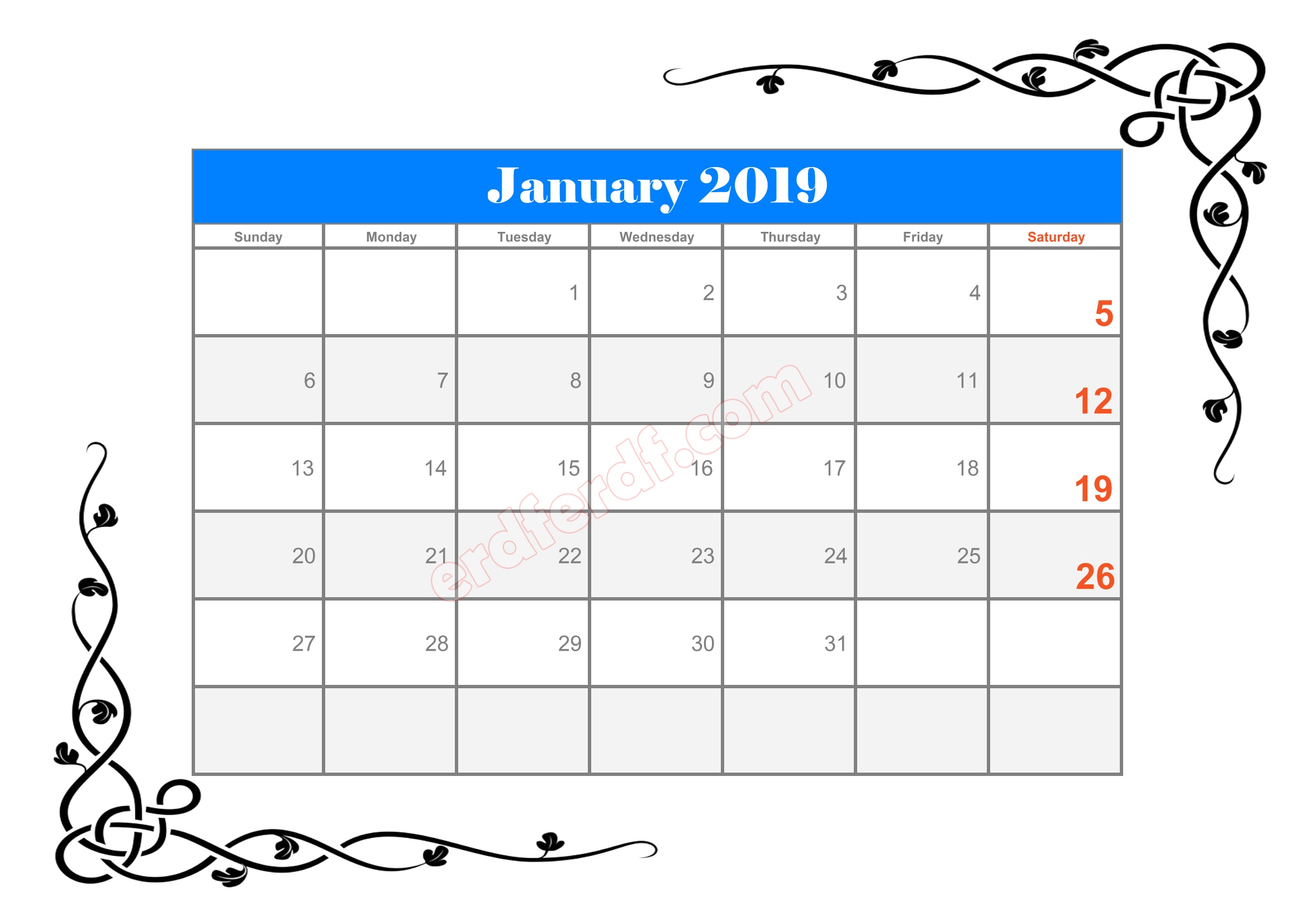 2 10 Blank Calendar 2019 January Sample