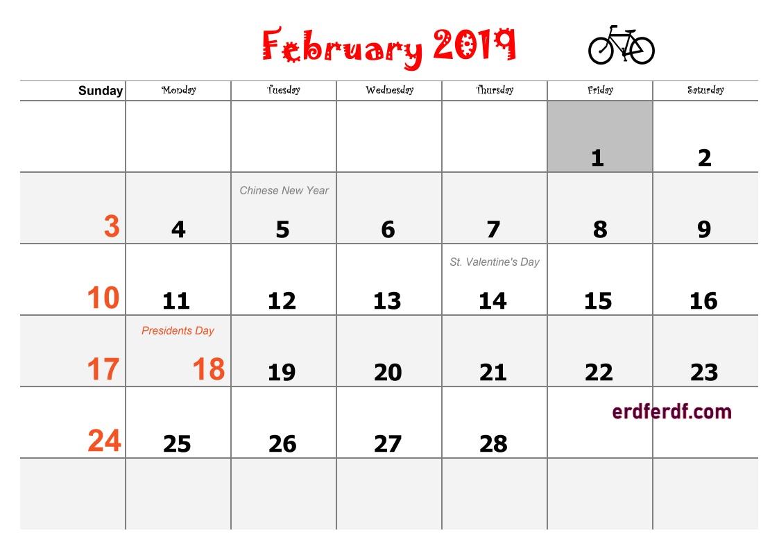 2 Blank Calendar 2019 Word February