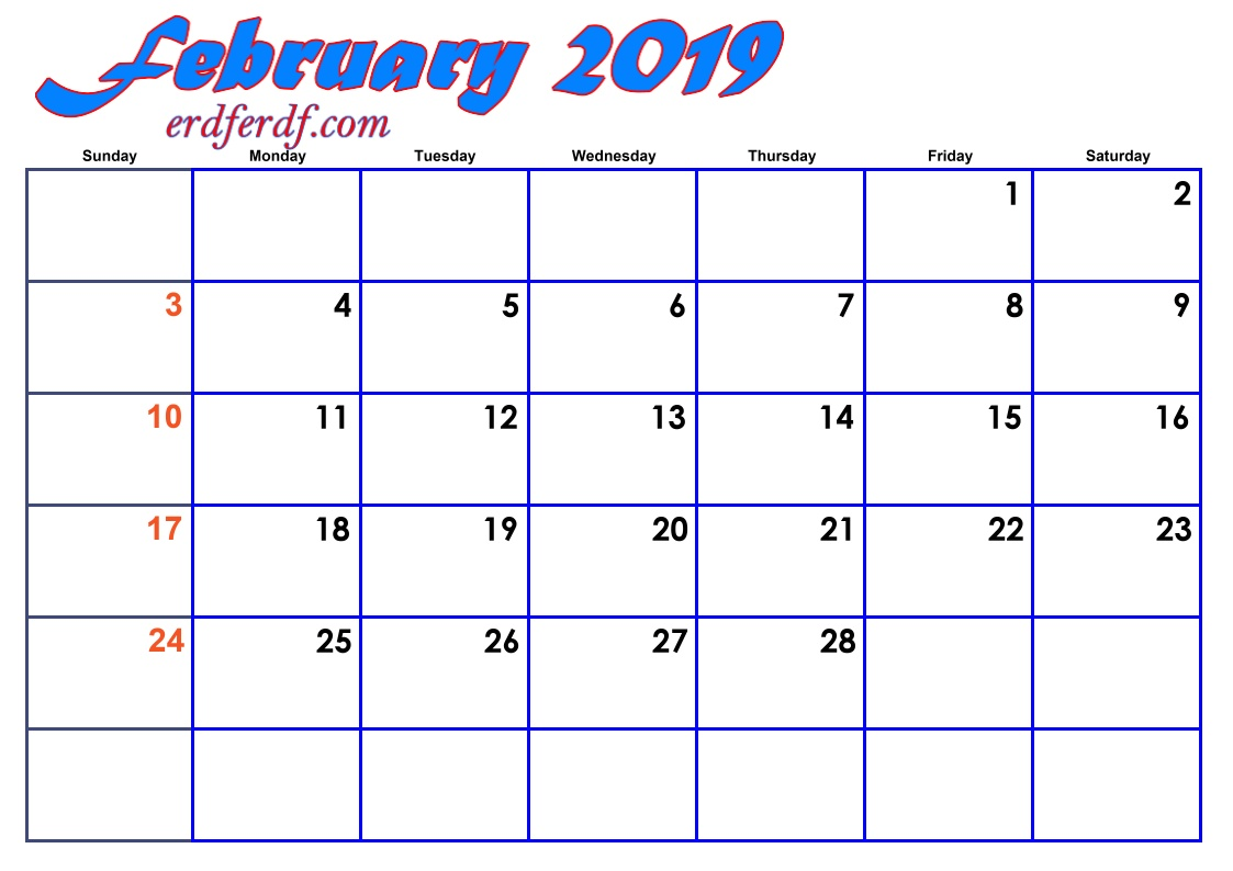 2 February Blank 2019 Calendar By Month